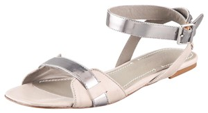 Elizabeth and James Metallic Buckle Leather Strappy Flat Gray Sandals