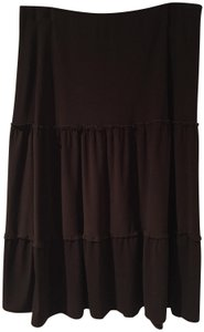 Brittany Black Tiered Boho Modest Career Church Skirt Chocolate Brown