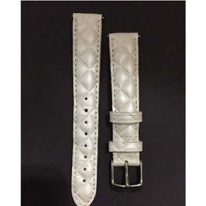 Michele Michele quilted white pearl leather watch band strap 16 mm