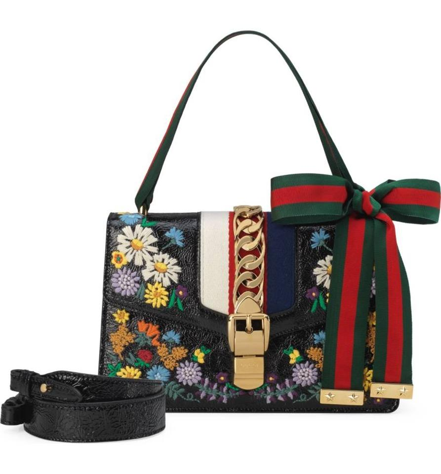 5072b0bf895 Gucci Sylvie New Small Floral Embroidery Shoulder Black Leather ...