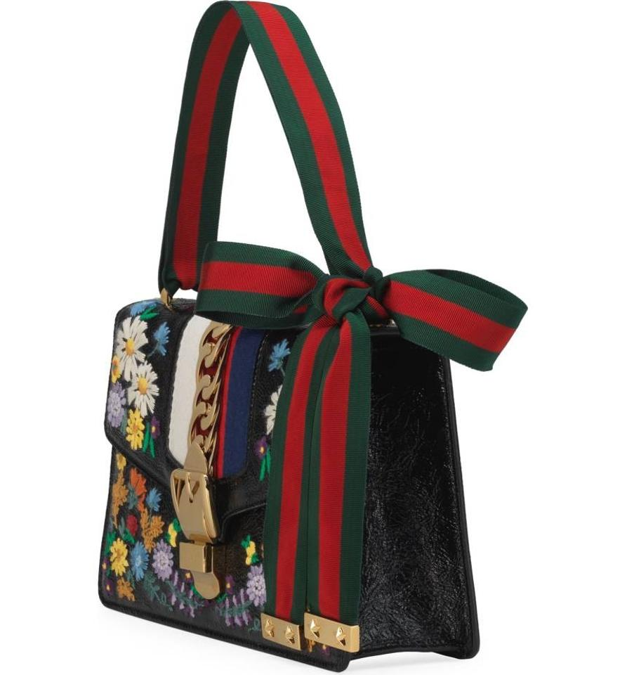 5684254ba Gucci Shoulder Bag Sylvie New Small Floral Embroidery Black Leather ...