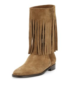 Burberry Fringe Checkered Sandstone Boots