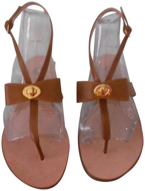 Item - Brown Bow Accented Pebbled Leather Sandals Size EU 39.5 (Approx. US 9.5) Regular (M, B)