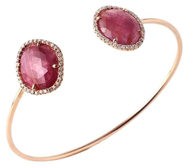 Item - Rose Cut 9.98 Ct Pink Sapphire 0.39 Ct Diamonds 14k Rose Gold Bangle Bracelet