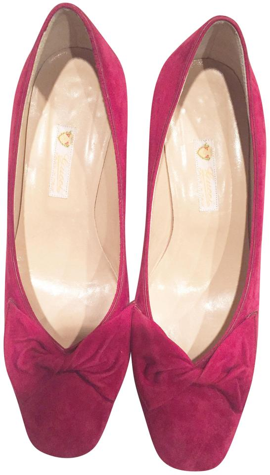 0f36dfb8f931 Gucci Fuschia Pink Suede Twisted Bow Detail  101-228-4020-36b Pumps ...