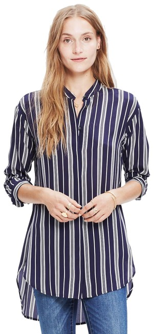 Item - Navy and White Mulberry Silk Tunic Button-down Top Size 0 (XS)