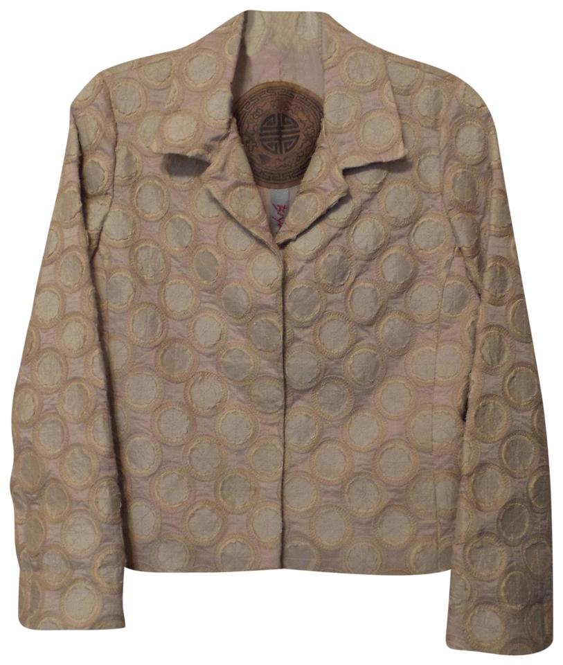 0d1340e692f Neutral Johnny Was Embroidered Appliqued Tones Silk Jacket