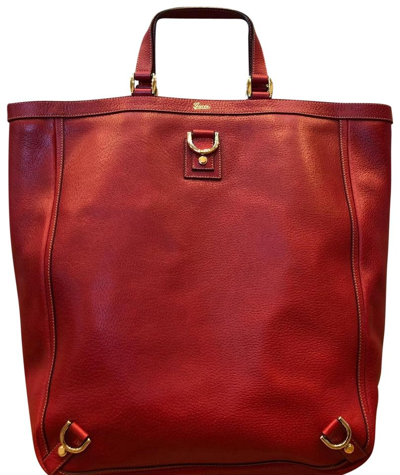 Gucci Vintage Pebble Leather Gold Hardware Tote in Red Image 0 ...