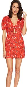 Free People short dress red floral Mini Mini Flower Print Cut-out on Tradesy