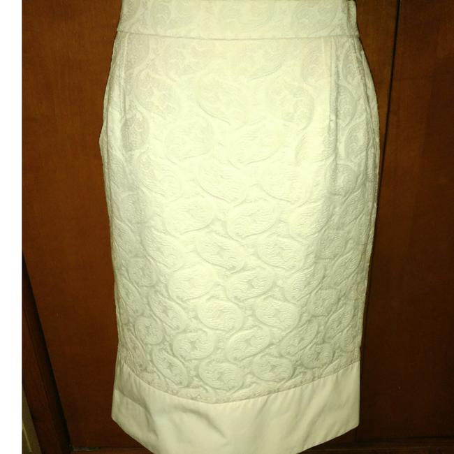Item - Cream Print with Exposed Back Silver Zip Skirt Size 10 (M, 31)