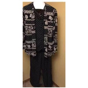 Alfred Dunner Polkadot Black and White Pants Suit