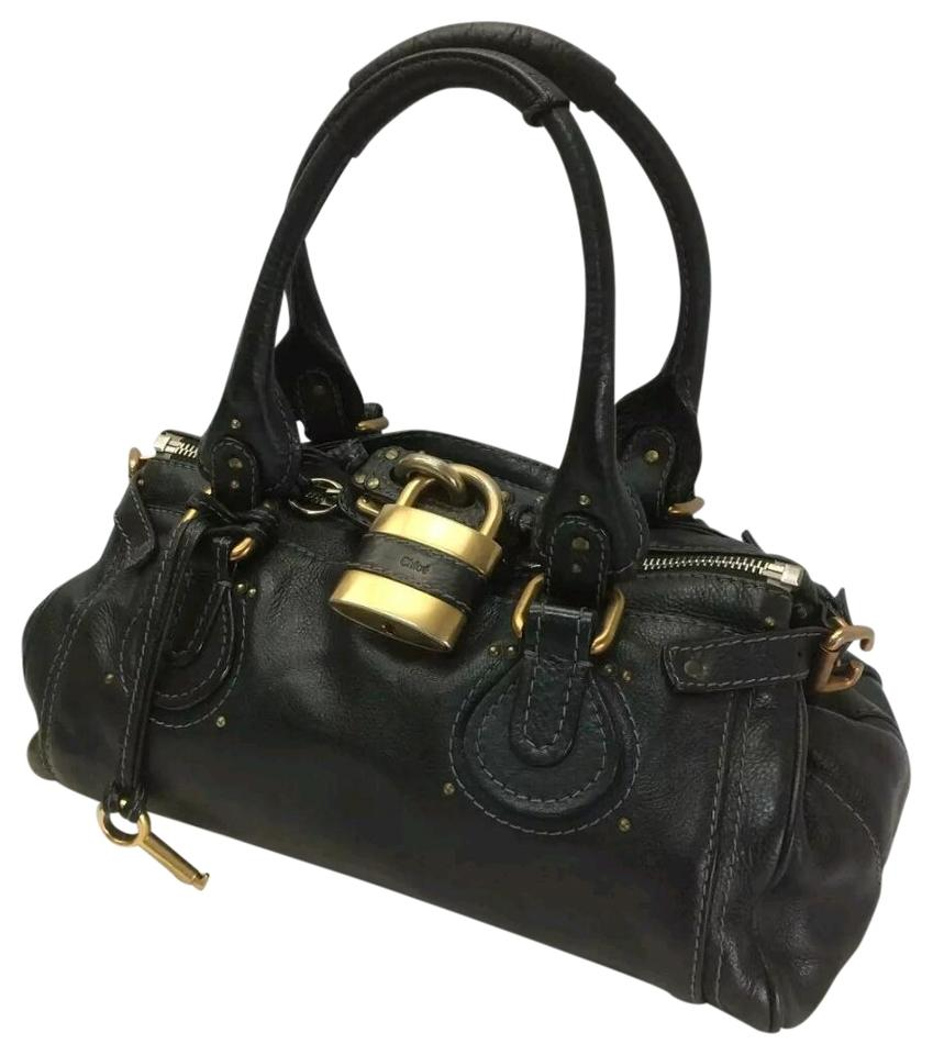 Chloé Paddington Lock With Key Leather Satchel In Black And Gold