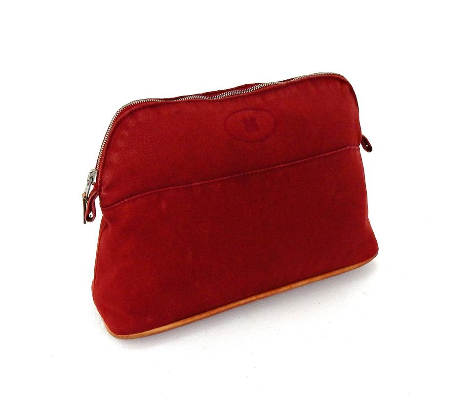 bcfab1a5e405 Hermès Red Bolide Mm Canvas Makeup Travel Dopp Extra Pouch France Cosmetic  Bag