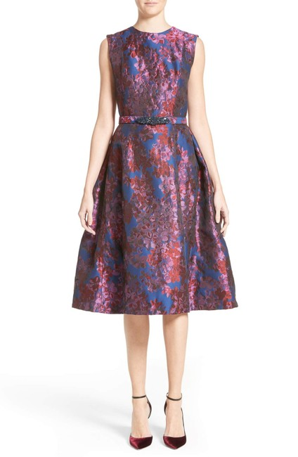 Item - Multicolor Couture Jacquard Fit & Flare Mid-length Formal Dress Size 12 (L)