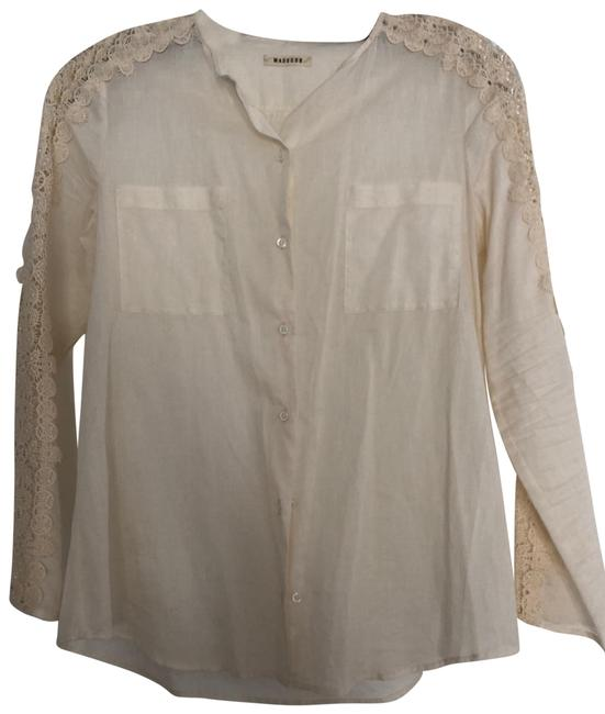 Item - Ivory Lace-sleeved Button-down Cotton Blouse Size 0 (XS)