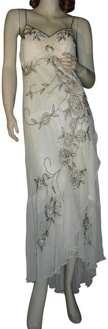 Item - Beige Ivory Khaki Beading Dance Party Silk Chiffon High Low Formal Dress Size 10 (M)