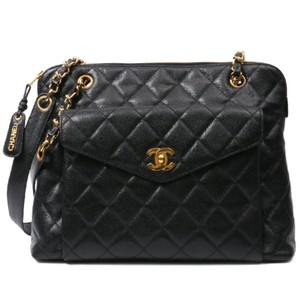 c318803469d128 Chanel Vintage Caviar Leather Tote in Black