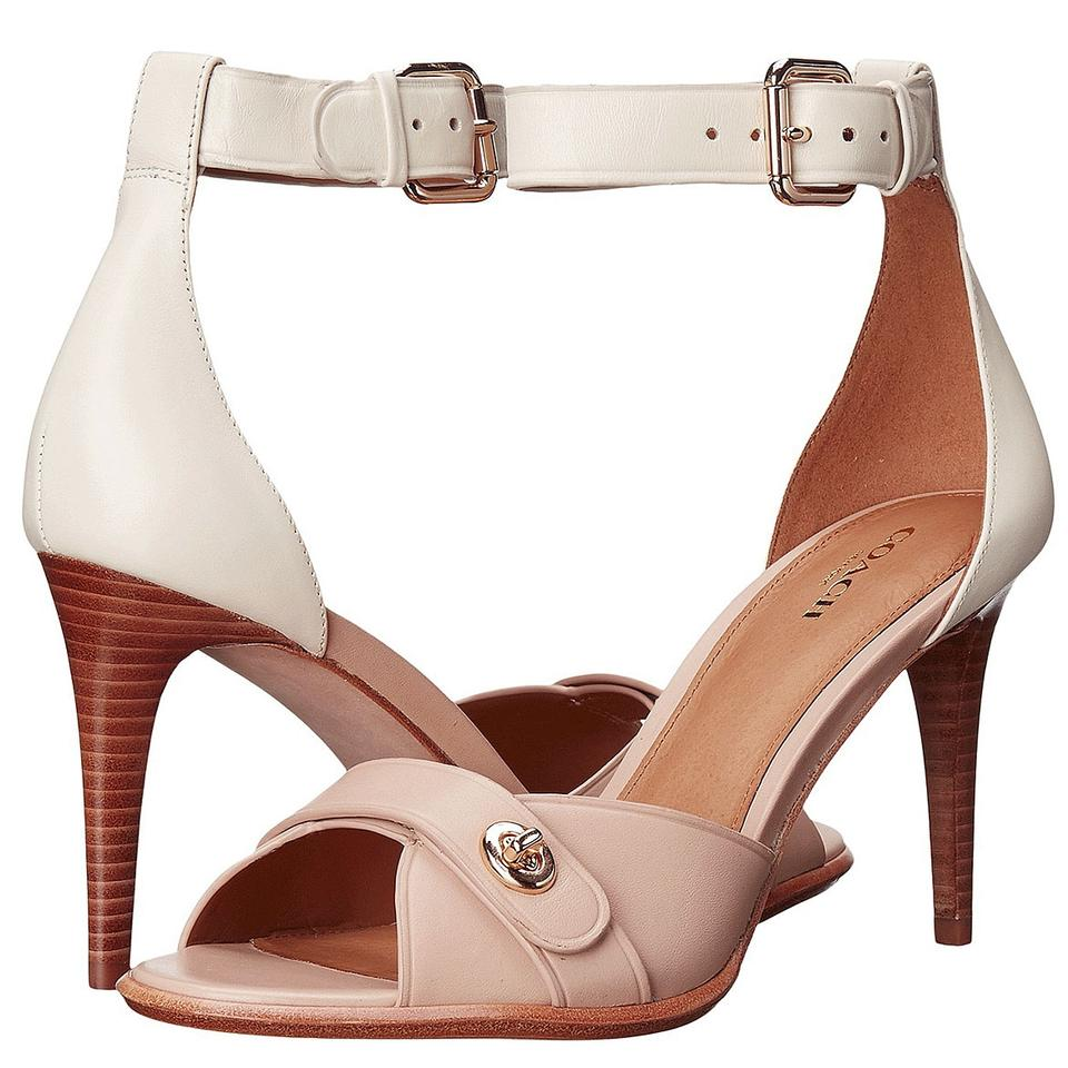 69cd30f5f2f Coach Multicolor A01229 Kathleen Beechwood Chalk Ankle Strap Leather Heels  Pumps