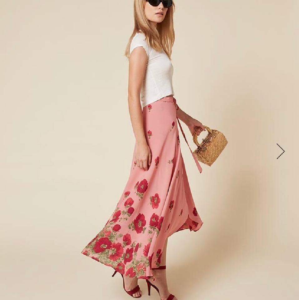 2dcb2d390ac3d1 Reformation Pink Newman Wrap Skirt Size 4 (S, 27) - Tradesy