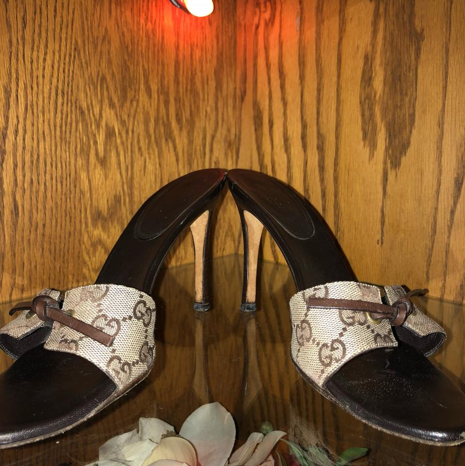 06aa11946 Gucci Brown & Khaki Slide On Gg Logo Leather Canvas Heels Sandals ...