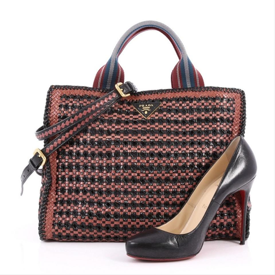 f4e4c38cc439 Prada Convertible Open Madras Woven Medium Mauve and Black Leather ...