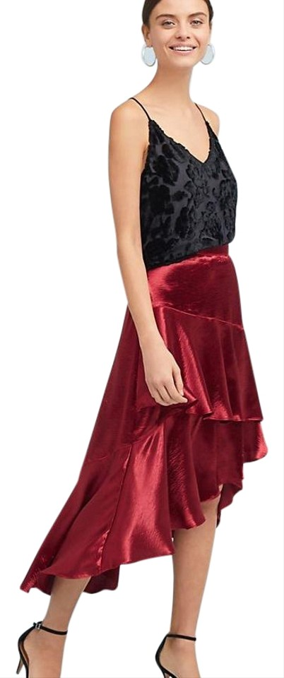3593a8f179 Anthropologie Red Satin Skirt Size 8 (M, 29, 30) - Tradesy