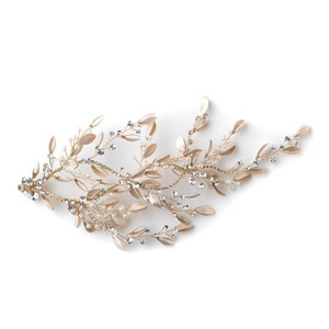 Elegance by Carbonneau Gold Light Champagne Pearl Rhinestone Leaf Clip Hair Accessory