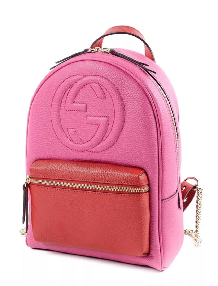 3714e07d6 Gucci Soho Gold Chain #431570 Pink and Red Leather Backpack - Tradesy