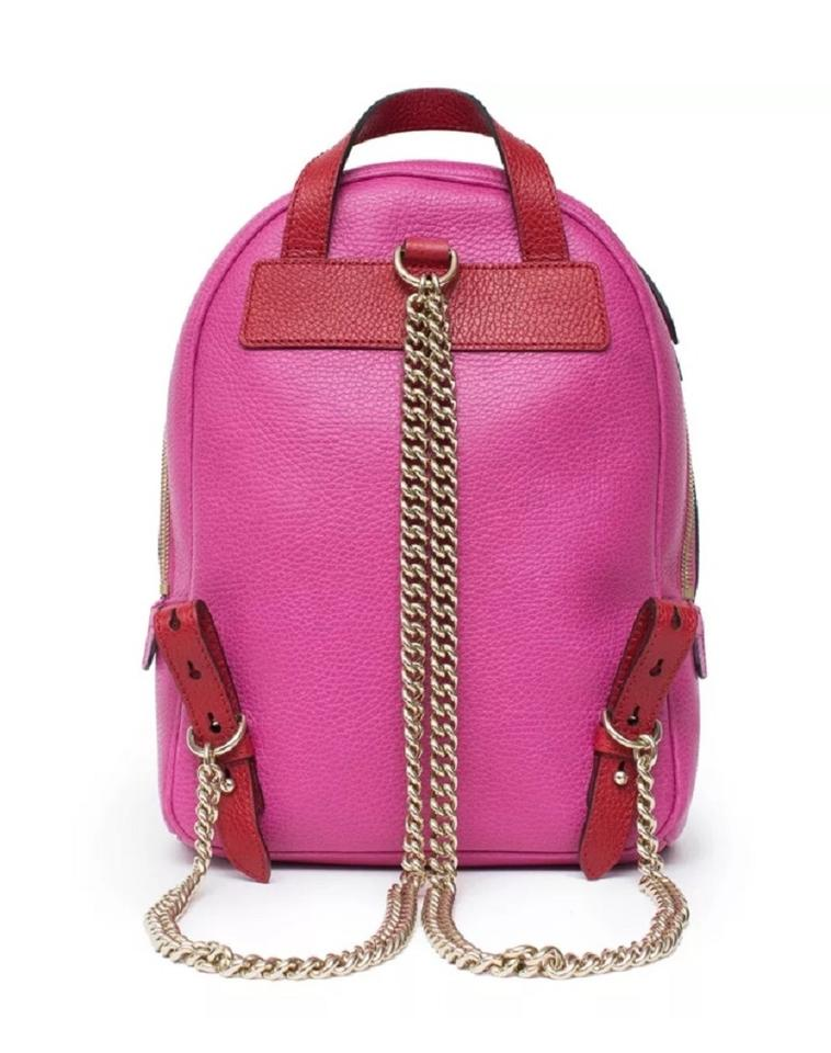 Gucci Soho Gold Chain #431570 Pink and Red Leather