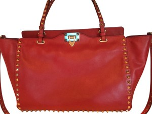 Valentino Classic Leather Tote in Red