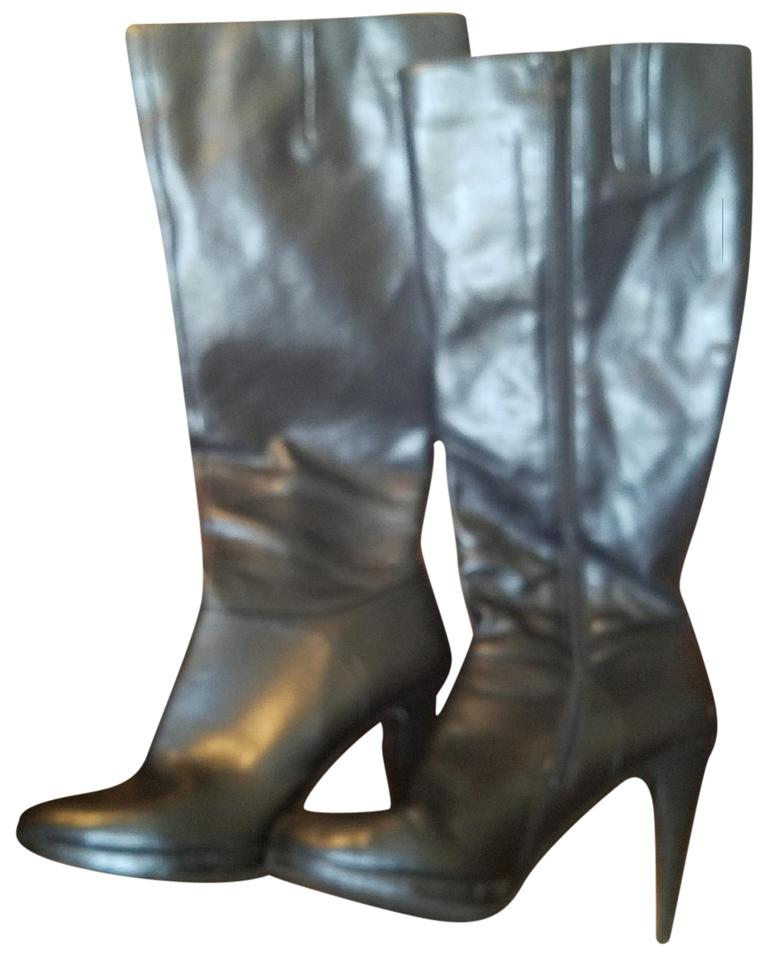 16e3ccba3f1e Nine West Black Leather Knee High Boots Booties Size US 9 Regular (M ...