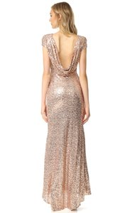 Badgley Mischka Blush - Rose Gold Sequin Collection Cowl Back Gown Formal Bridesmaid/Mob Dress Size 4 (S)