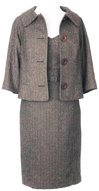 Item - Brown Tweed Belted Portrait Pencil Matching Retro Swing Coat M Mid-length Work/Office Dress Size 6 (S)