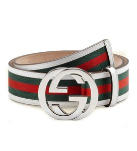 Gucci Gucci GG Web Leather Belt with Interlocking G Buckle 114984 8624 (whit