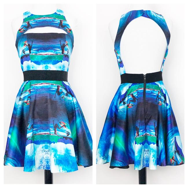 Item - Black Blue Surfs Up Wave Cutout Bust Fit & Flare Sleeveless A Line Mid-length Night Out Dress Size 4 (S)