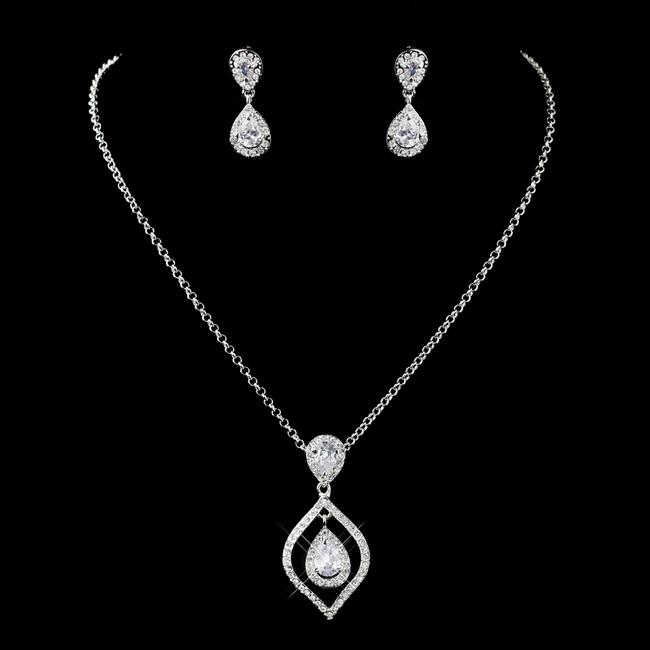 Item - Silver Clear ( 5 Sets ) Teardrop Cz Drop Necklace Earrings Bridesmaid Jewelry Set