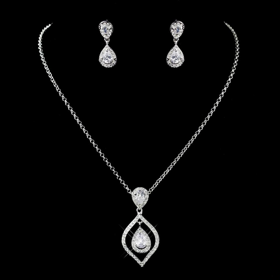 Elegance By Carbonneau Silver Clear 5 Sets Teardrop Cz Drop Necklace Earrings Bridesmaid Jewelry