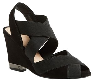Tory Burch Debbie Demi Wedge Stretch Black Platforms