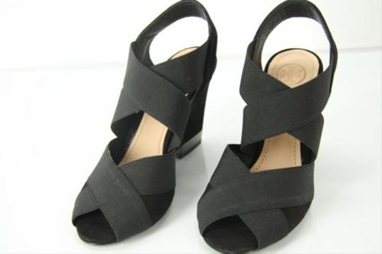 Tory Burch Wedge Stretch Sandals 5 Black Platforms