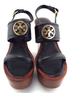 Tory Burch Logo Selma Black Sandals