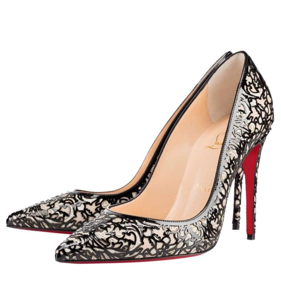8683f647701e Christian Louboutin Black So Kate Pretty Cutout Patent Leather Suede Glitter  Pumps 37 Formal Shoes