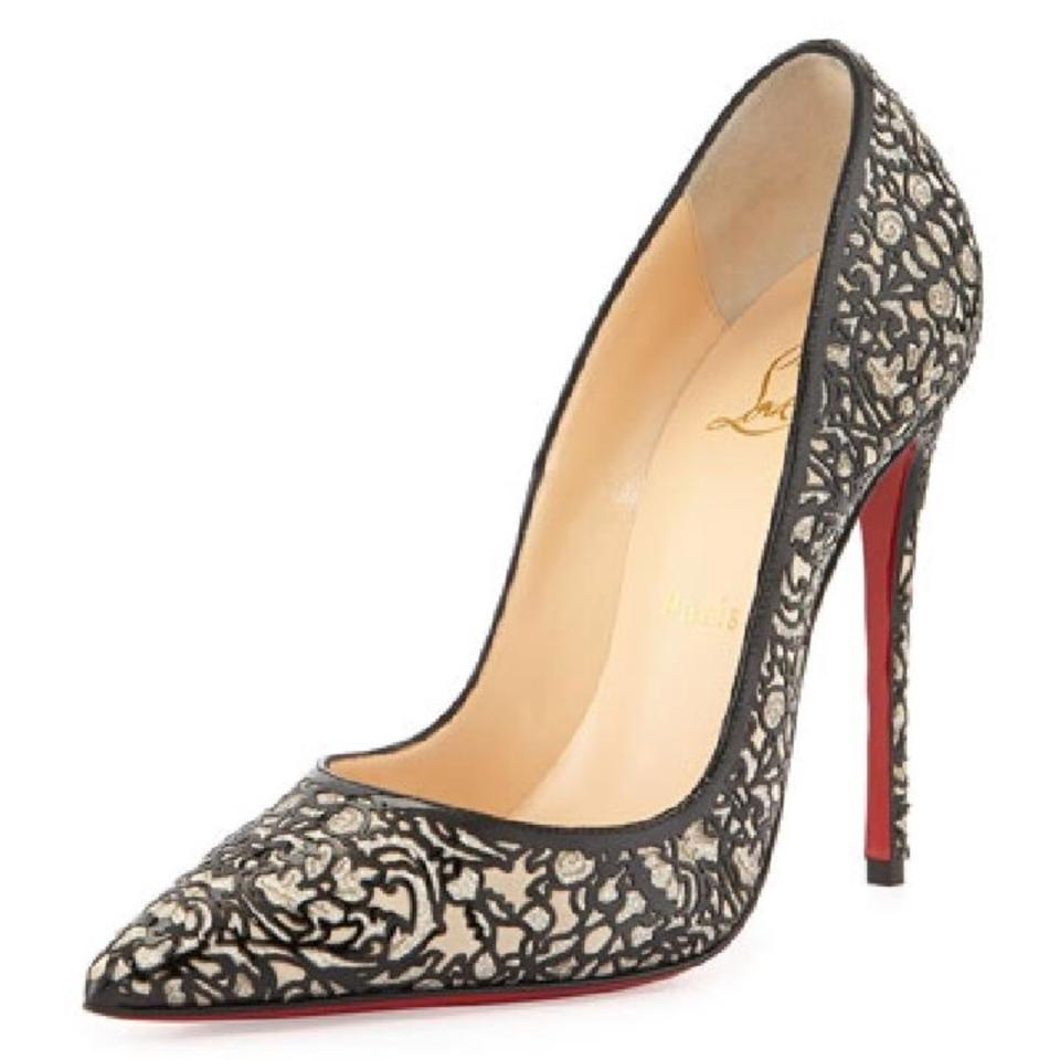 53ca658d0f01 Christian Louboutin Black So Kate Pretty 120mm Cutout Patent Leather  Glitter Suede White Pumps