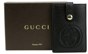 Gucci Women's Black Leather Interlocking G Credit Card Holder 338331 1000