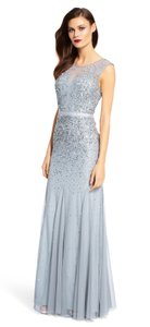 Adrianna Papell Sequin Beaded Mesh Ball Gown Dress