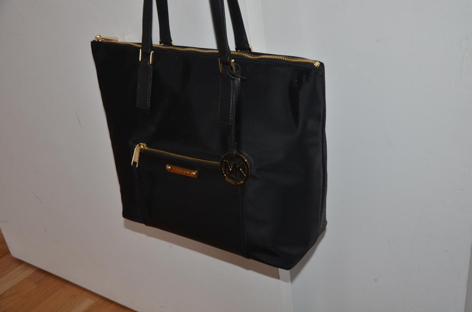 9cc0ea8cecf1 Michael Kors Ariana Large Shoulder Black Nylon Leather Tote - Tradesy