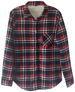 Ambiance Button Down Shirt Red/navy plaid
