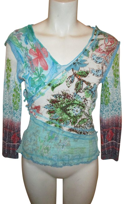 Item - Sequined Mesh and Pleated 3/4 Sleeve Multicolor Top