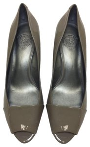 Jessica Simpson Taupe Patent Leather Wedges