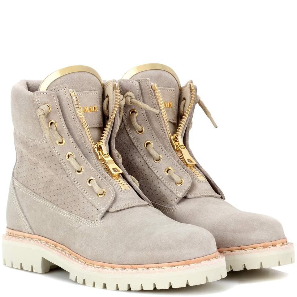 Balmain Beige Light Gray Taiga Boots/Booties Suede Perforated Ranger Ankle Boots/Booties Taiga fc6bc4