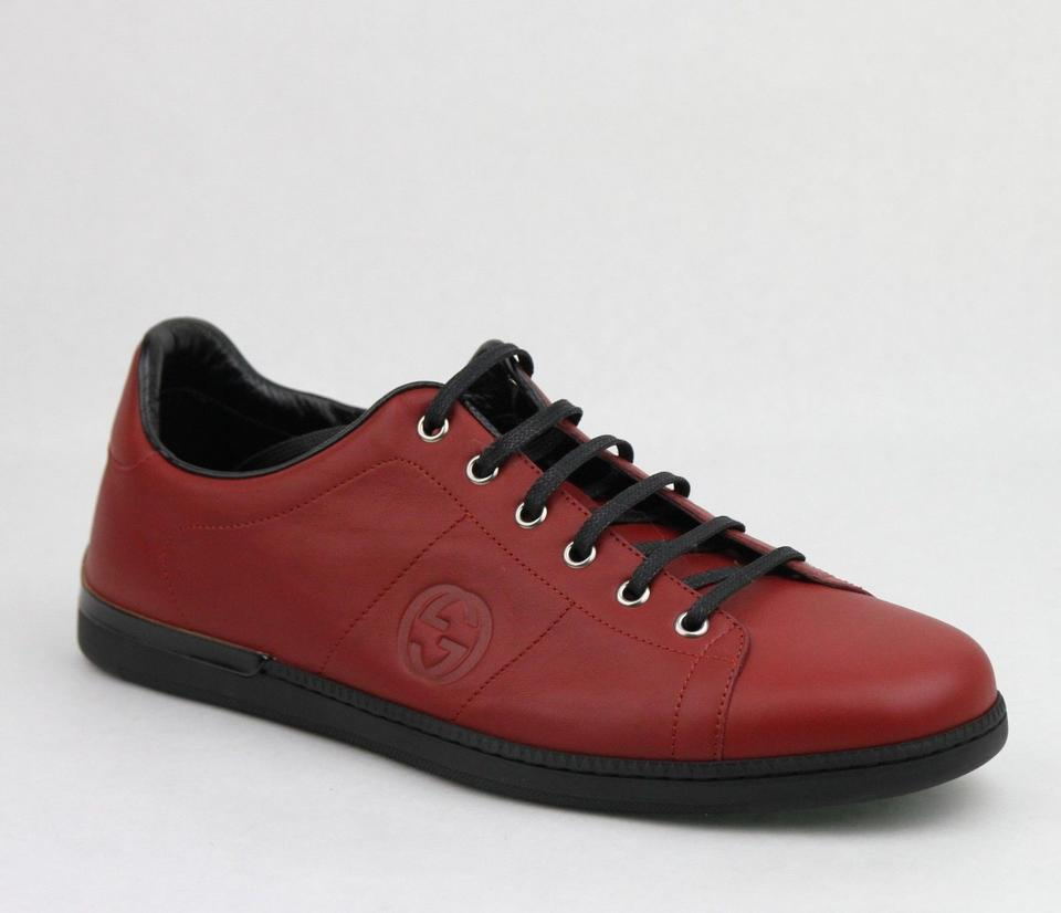 6e32a2dc3 Gucci Red/Black W Leather Lace-up Sneaker W/Gg Logo 11.5g/Us 12.5 ...
